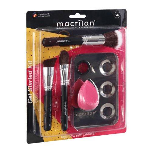 Kit KP10-1 com 3 pincéis para maquiagem, 1 esponja e 1 placa- Macrilan