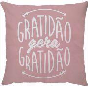 Capa de Almofada Gratidão Gera Gratidão Rosa