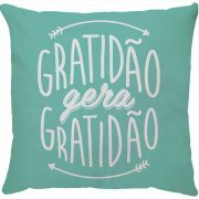 Capa de Almofada Gratidão Gera Gratidão Turquesa