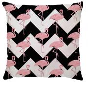 Capa de Almofada Flamingo Chevron Preto Rosa