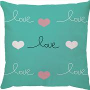 Capa de Almofada Love Fundo Azul Turquesa