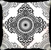 Capa de Almofada Athenas Flor Menhdi Preto