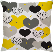 Capa de Almofada Corações Amarelo Cinza 45x45