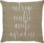 Capa de Almofada Frase Entrego, Confio, Aceito, Agradeço Bege 45x45