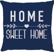 Capa de Almofada Frase Home Sweet Home Azul Marinho 45x45