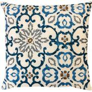 Capa de Almofada Suede Floral Azul Turquesa