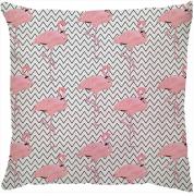 Capa de Almofada Flamingo Rosa Filete Preto