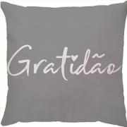 Capa de Almofada Gratidão Cinza