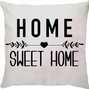 Capa de Almofada Frase Home Sweet Home Fundo Branco