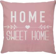 Capa de Almofada Frase Home Sweet Home Fundo Rosa