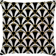 Capa de Almofada Leques Dourado Preto