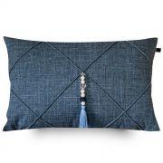 Capa de Almofada Retangular Suede Azul Jeans Com Pingente