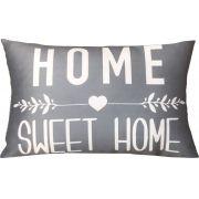 Capa de Almofada Retangular Frase Home Sweet Home Cinza