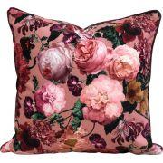 Capa de Almofada Suede Flores Cordão Roxo 55x55