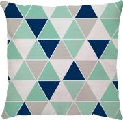 Capa de Almofada Triângulos Menta Azul Marinho