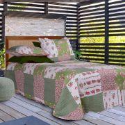 Kit Colcha Casal Dupla Face Floral Verde 220x240