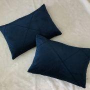 Kit 2 Porta Travesseiros Veludo Azul Marinho c/ Costura