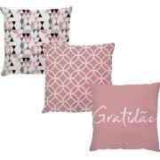 Kit 3 Capas de Almofadas Decorativas Gratidão Rosa