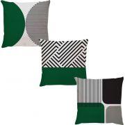 Kit 3 Capas de Almofadas Geometrico Verde Musgo Cinza