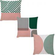 Kit 3 Capas Linhas Rosa Verde Musgo