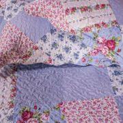 Kit Colcha Queen Dupla Face Floral Azul Claro 240x260