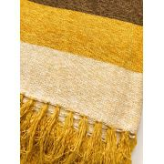 Peseira Listrada Chenille Amarelo Marrom 1,55x2,30