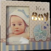 Porta-Retrato Infantil com Luz de LED Vertical Azul