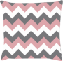 Capa de Almofada Chevron Rosa Cinza