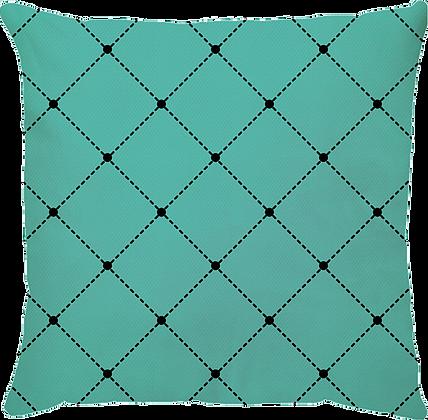 Capa de Almofada Capitone Azul Turquesa 45x45