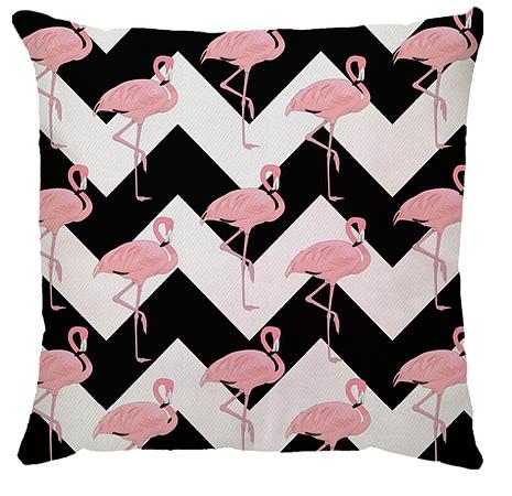 Capa de Almofada Flamingo Chevron Preto Rosa 45x45