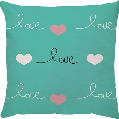 Capa de Almofada Love Fundo Azul Turquesa 45x45