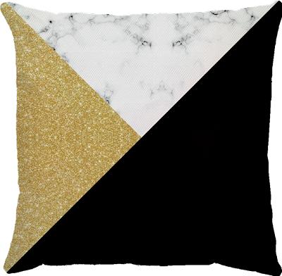 Capa de Almofada Patch Dourado Preto