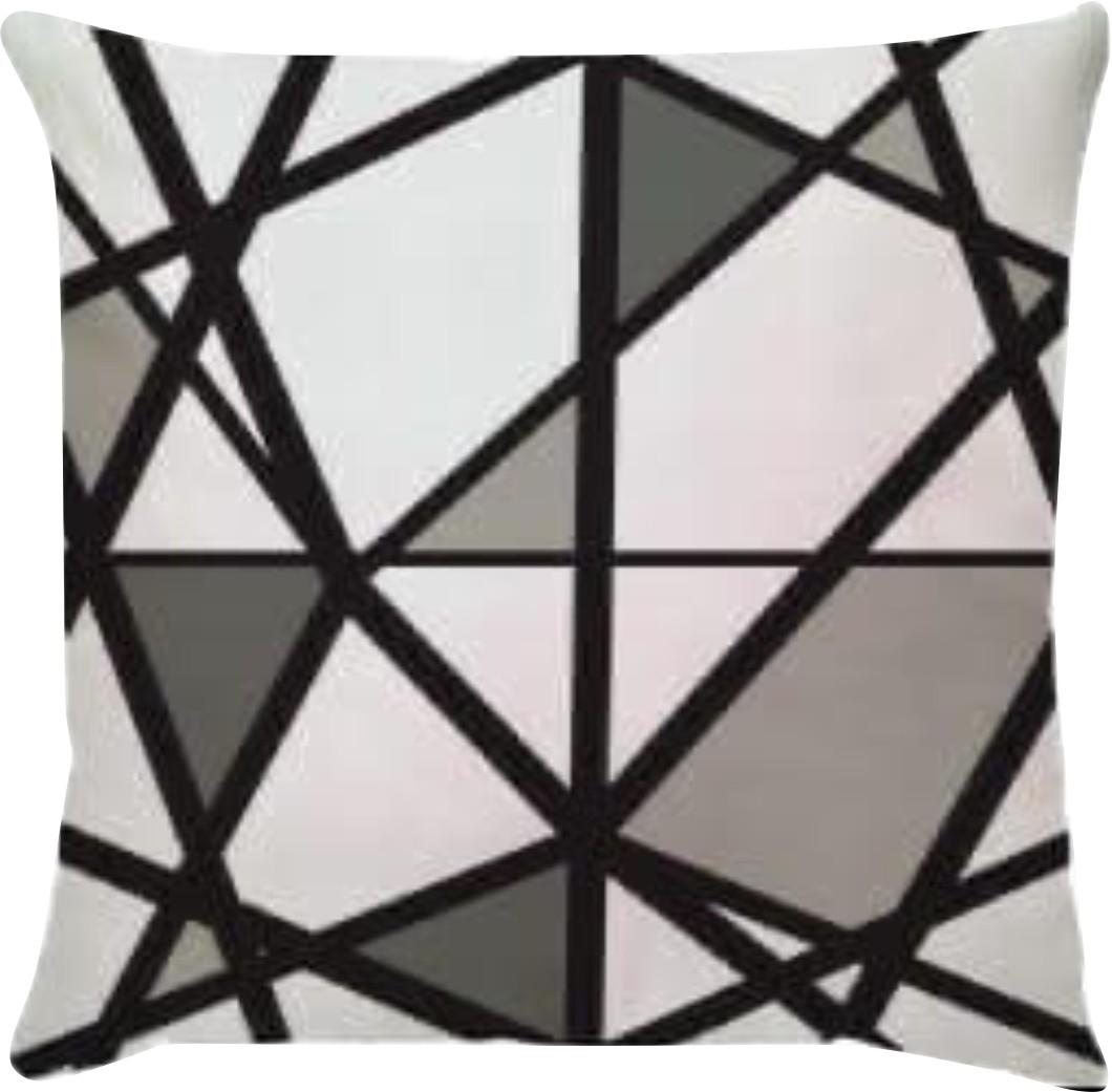 Capa de Almofada Abstrato Preto Branco e Cinza 45x45