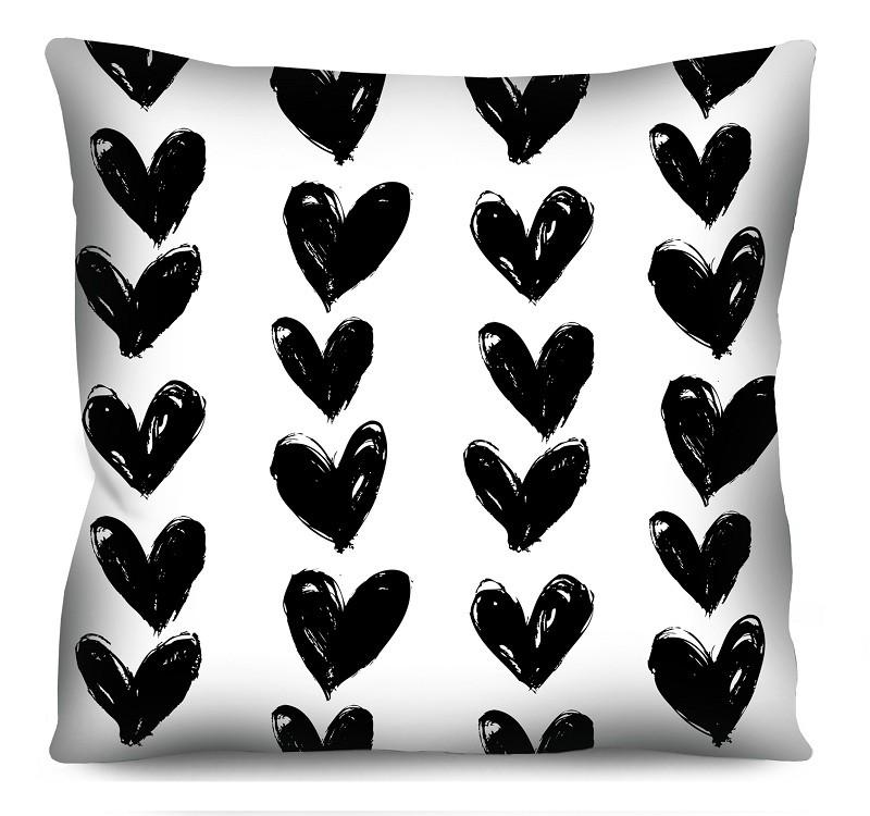 Capa de Almofada Acetinada Corações Fundo Branco 50x50