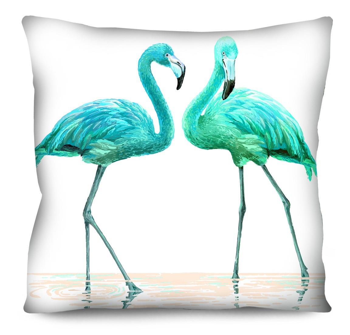 Capa de Almofada Acetinada Flamingo Verde Água 50x50