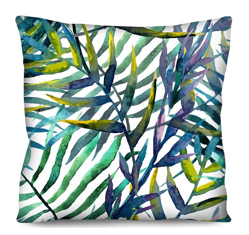 Capa de Almofada Acetinada Folhas Verde Roxo e Azul 50x50