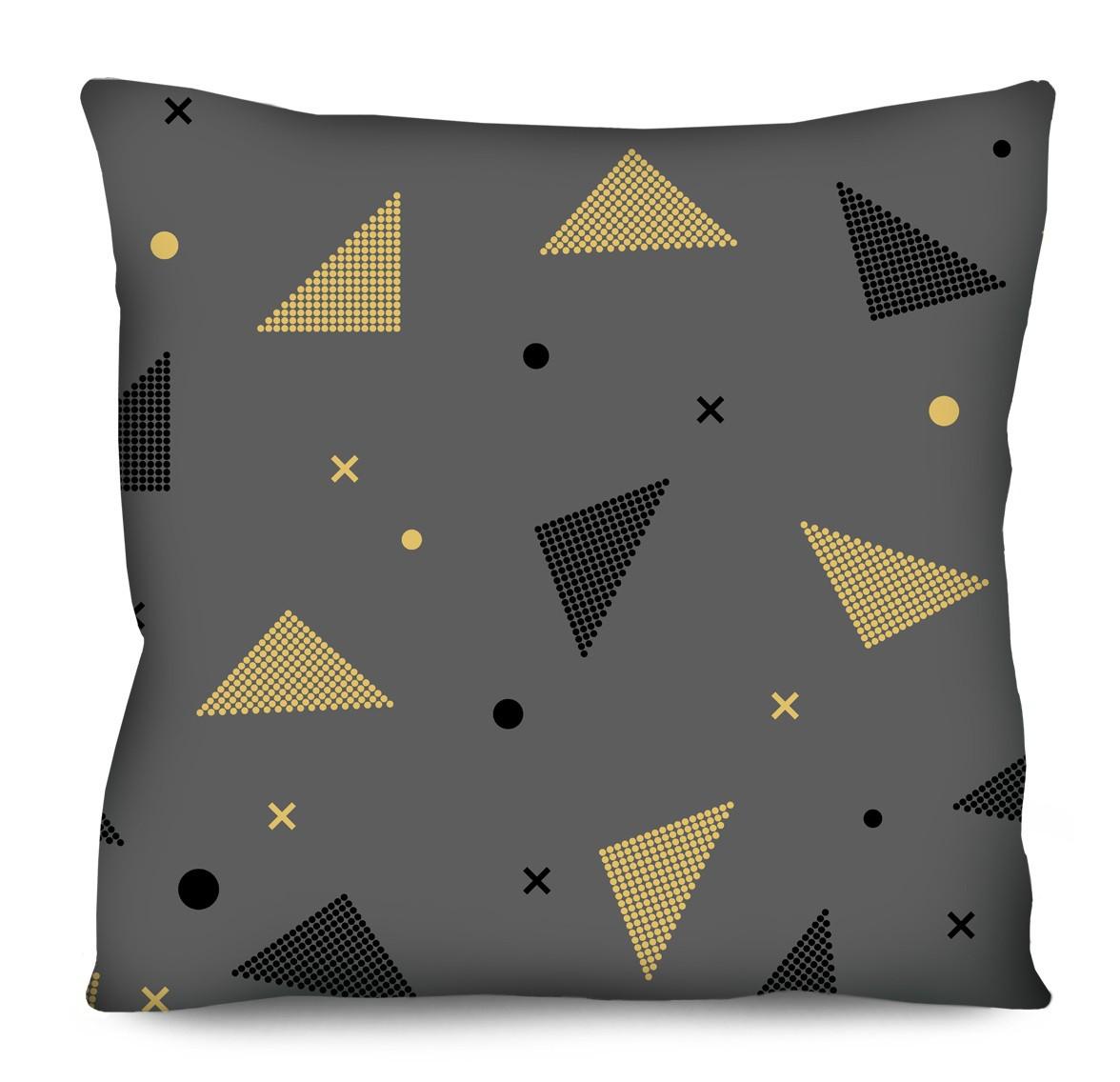 Capa de Almofada Acetinada Formas Diversas Cinza Amarelo e Preto 50x50