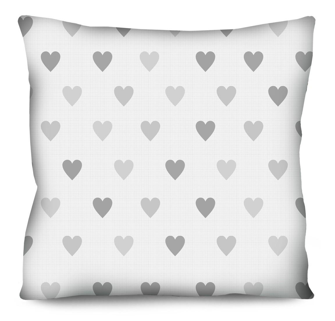 Capa de Almofada Acetinada Mini Corações Cinza 50x50