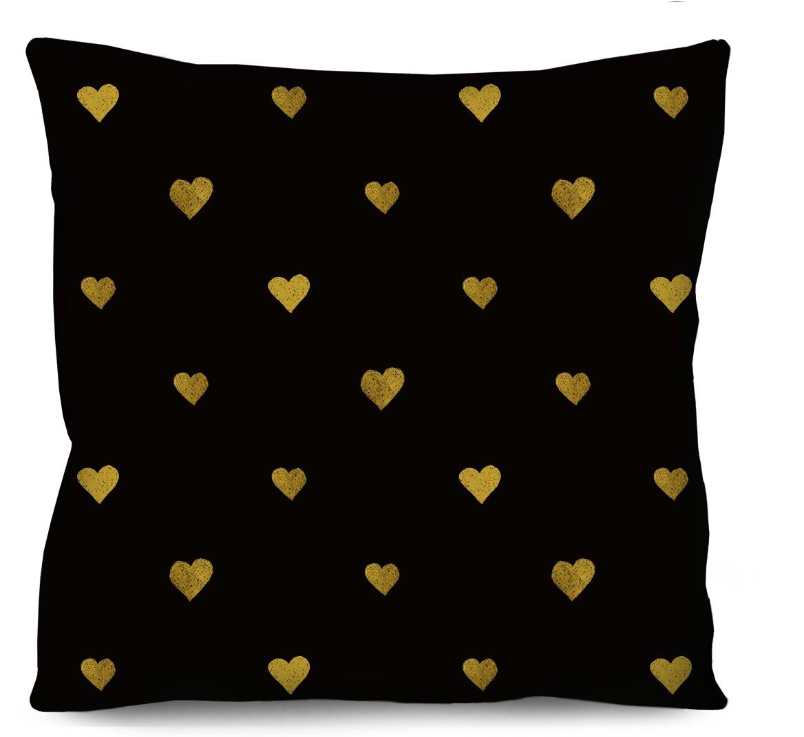 Capa de Almofada Acetinada Mini Corações Efeito Dourado 50x50