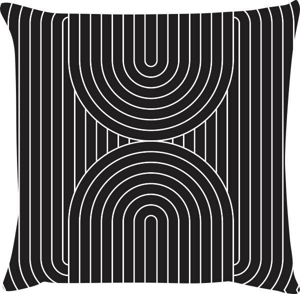 Capa de Almofada Arco Preto 45x45