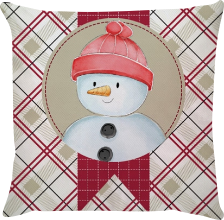 Capa de Almofada Boneco de Neve Bege e Vermelho 45x45