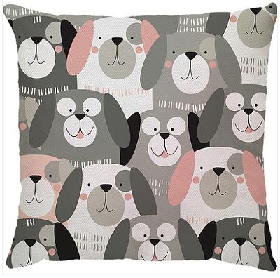 Capa de Almofada Cachorros Cinza Rosa 45x45