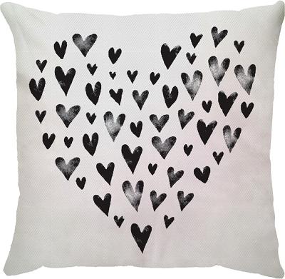 Capa de Almofada Coração Preto Branco