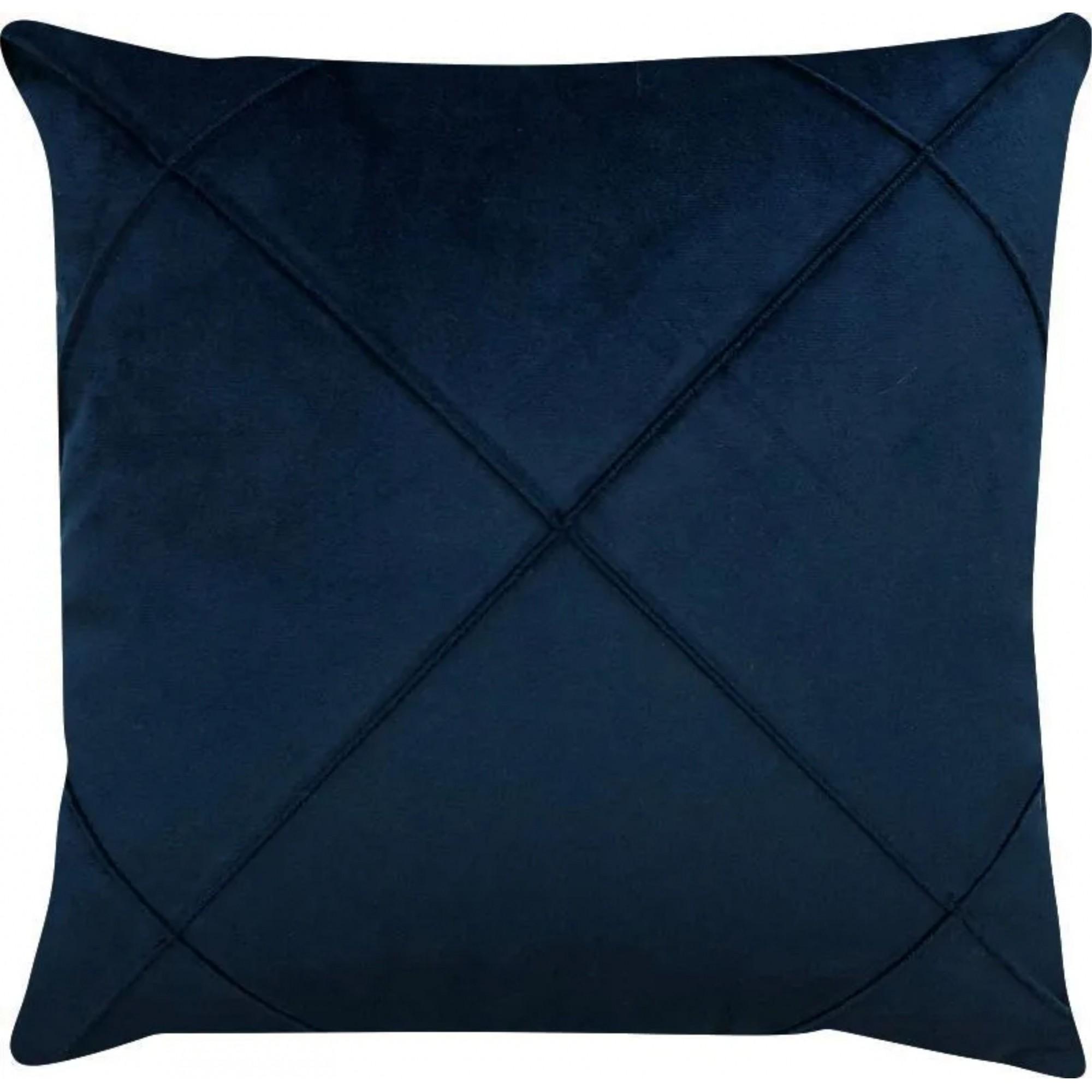 Capa de Almofada Drapeada 50 x 50 Veludo Azul Marinho