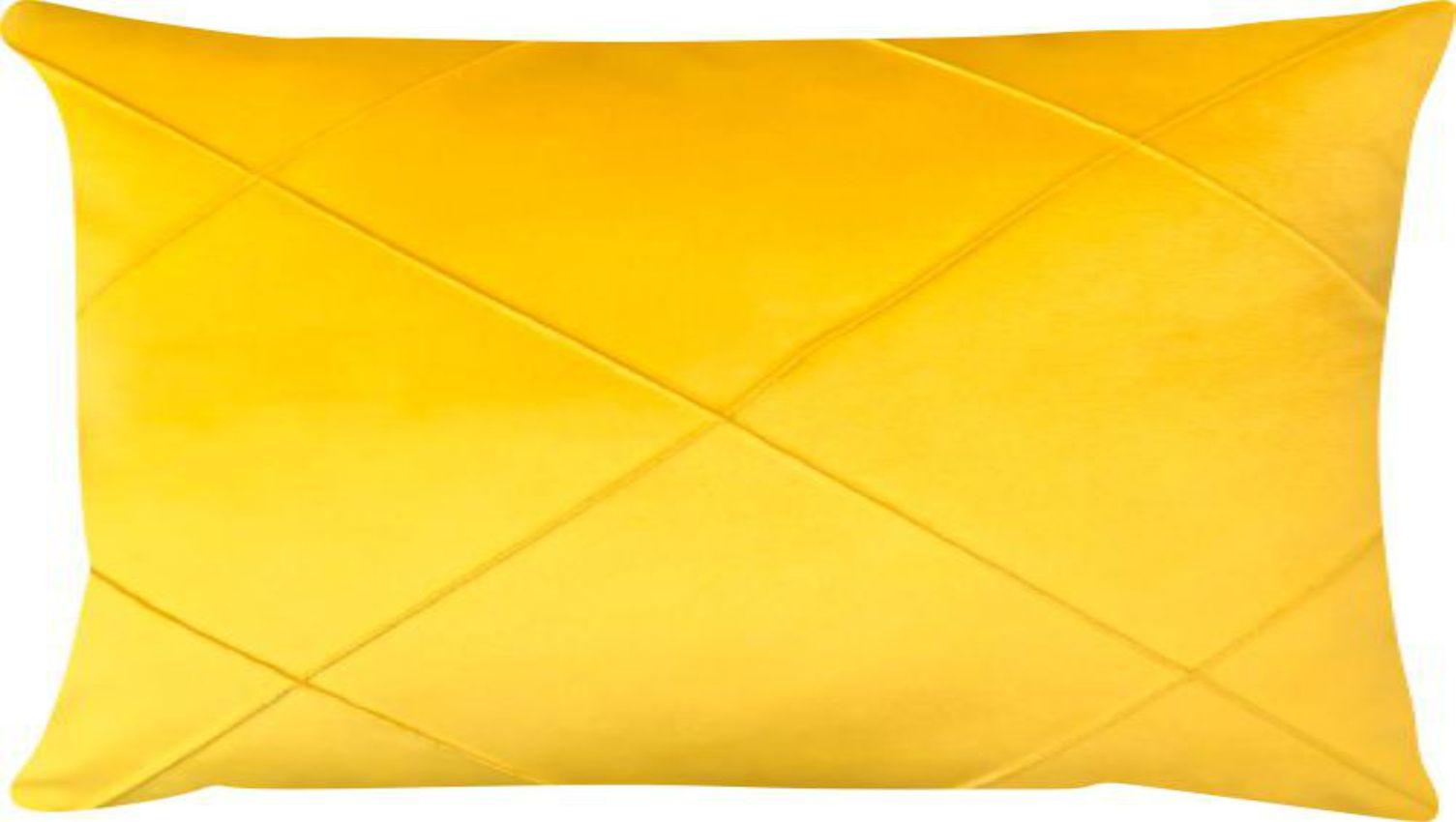 Capa de Almofada Retangular Drapeada Veludo Amarelo 30x45