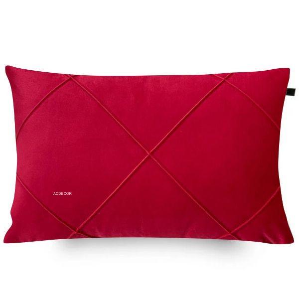 Capa de Almofada Drapeada Retangular Veludo Vermelho