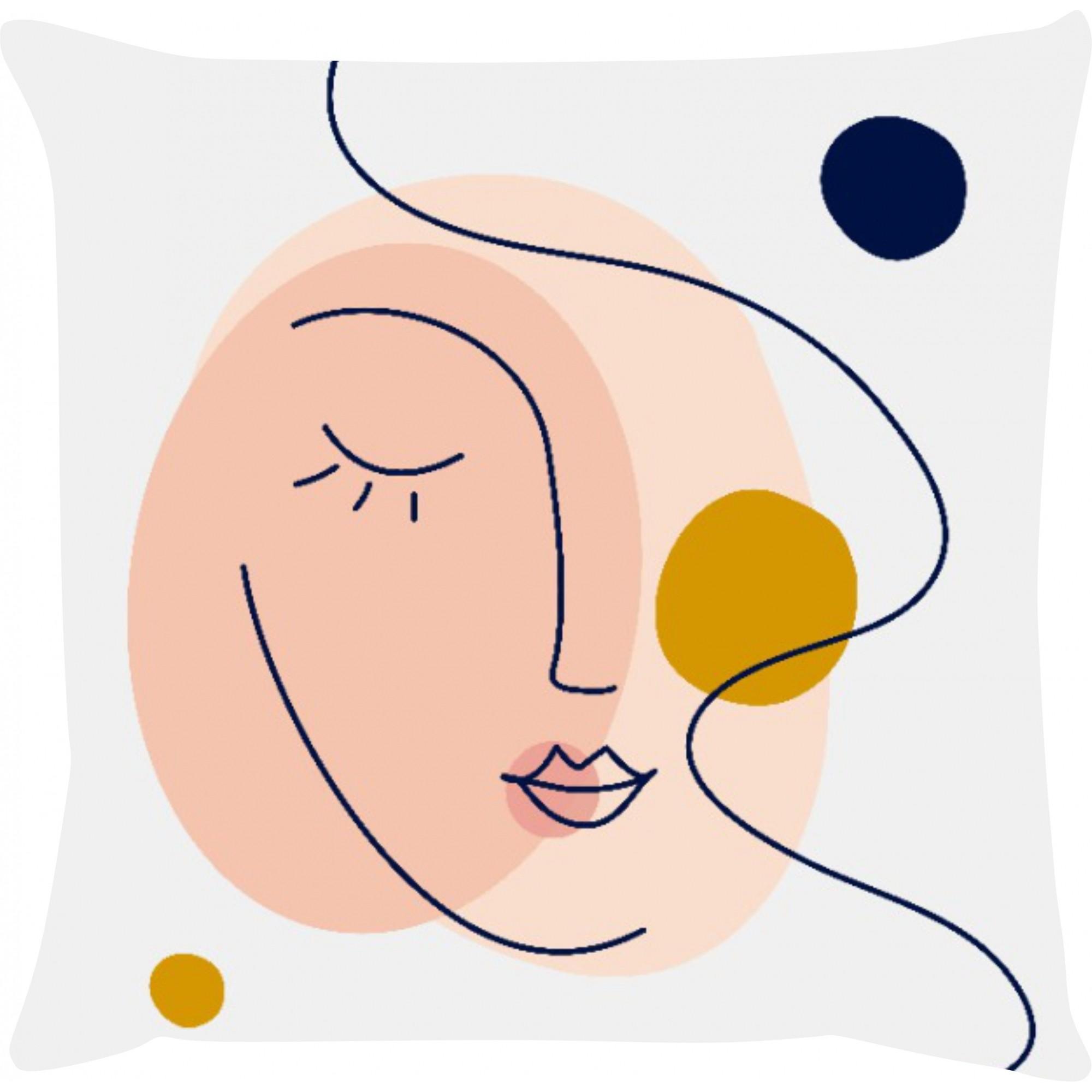 Capa de Almofada Face Feminina Azul Marinho e Mostarda 45x45