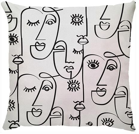 Capa de Almofada Faces Preto e Branco 45x45