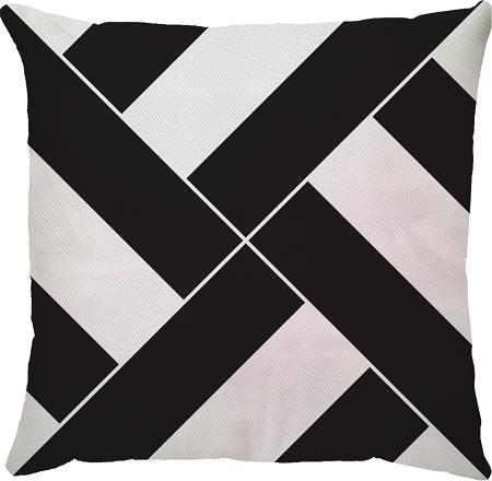 Capa de Almofada Faixas Preto Branco 45x45
