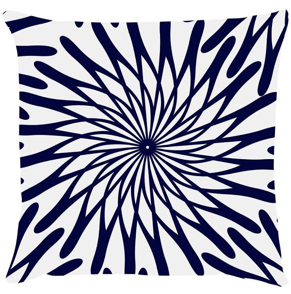 Capa de Almofada Flor Azul Marinho 45x45